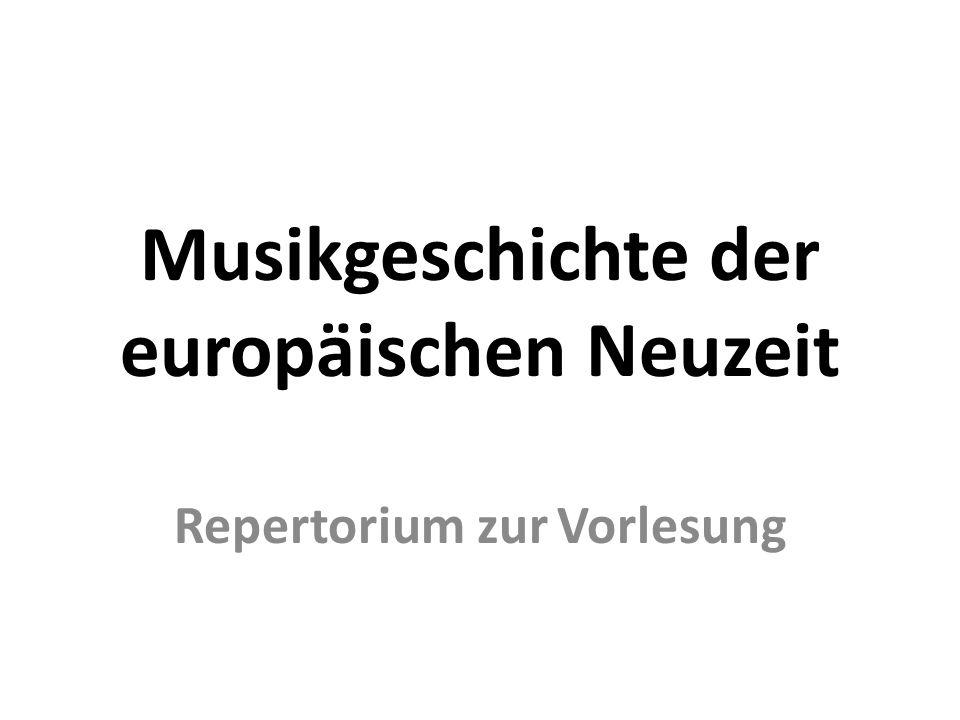 Musikgeschichte der europäischen Neuzeit