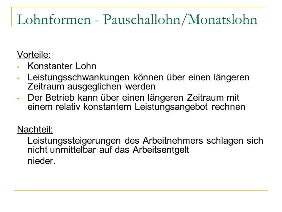 Lohnformen - Pauschallohn/Monatslohn