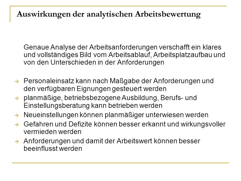 Auswirkungen der analytischen Arbeitsbewertung