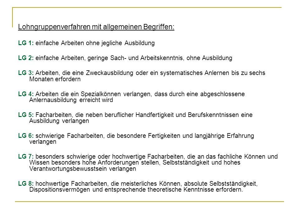 Lohngruppenverfahren mit allgemeinen Begriffen: