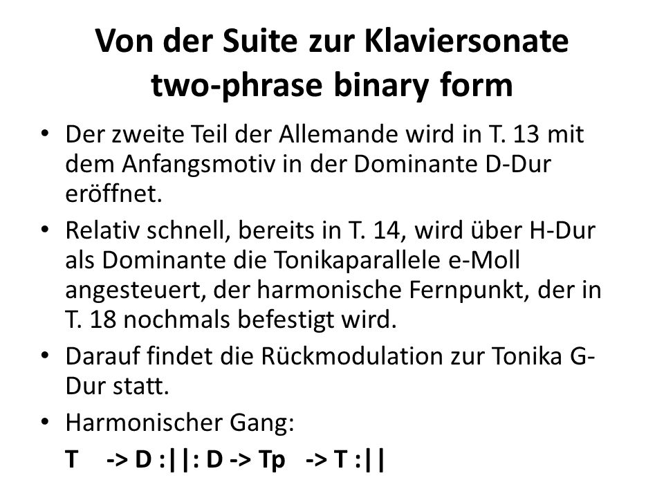 Von der Suite zur Klaviersonate two-phrase binary form