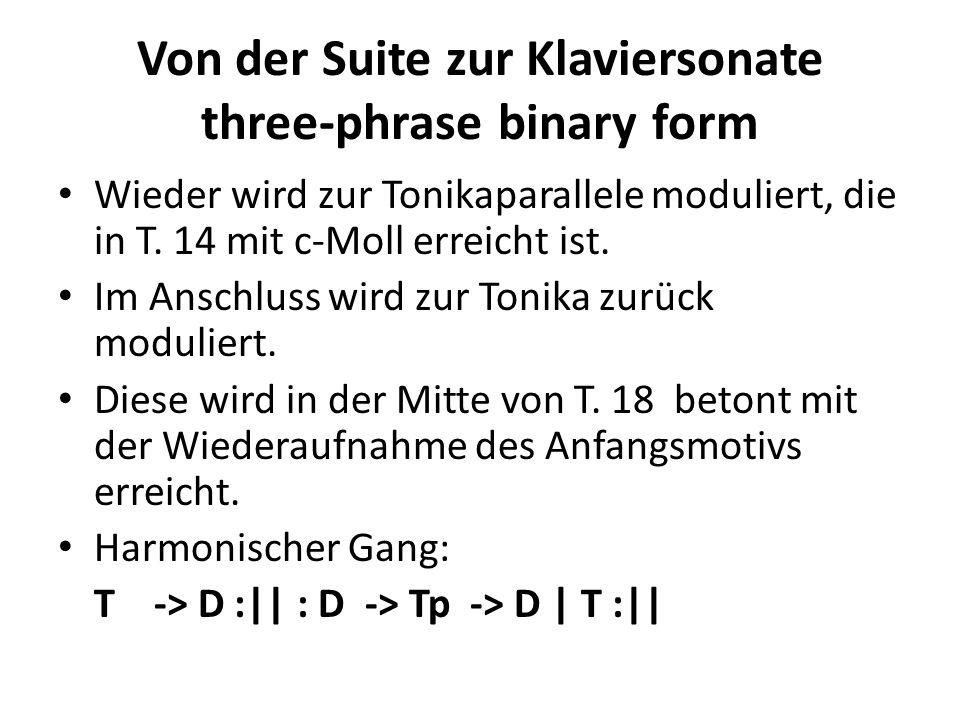 Von der Suite zur Klaviersonate three-phrase binary form