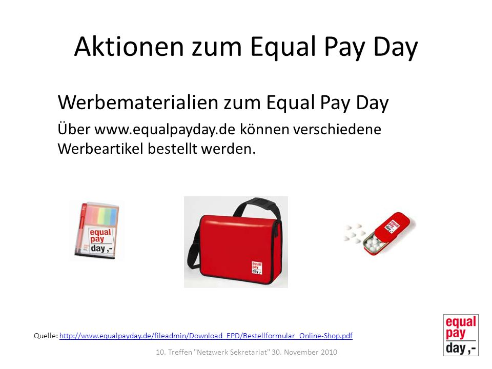 Aktionen zum Equal Pay Day