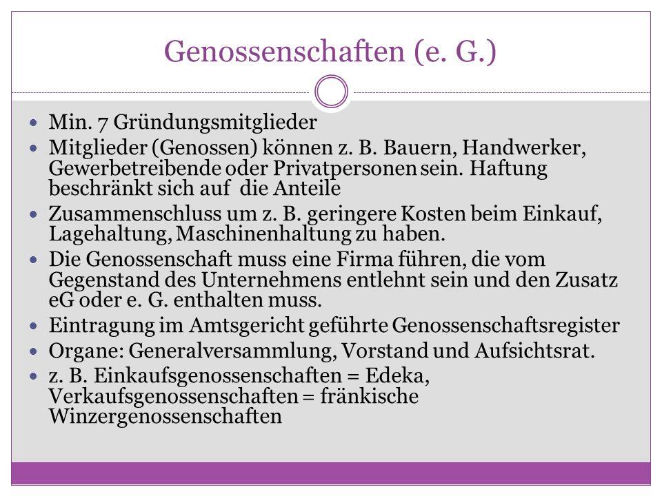 Genossenschaften (e. G.)