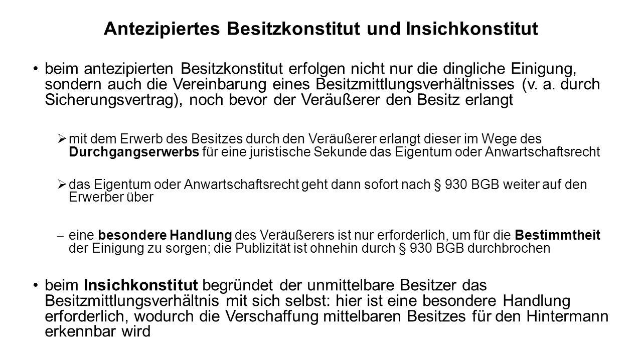 Antezipiertes Besitzkonstitut und Insichkonstitut