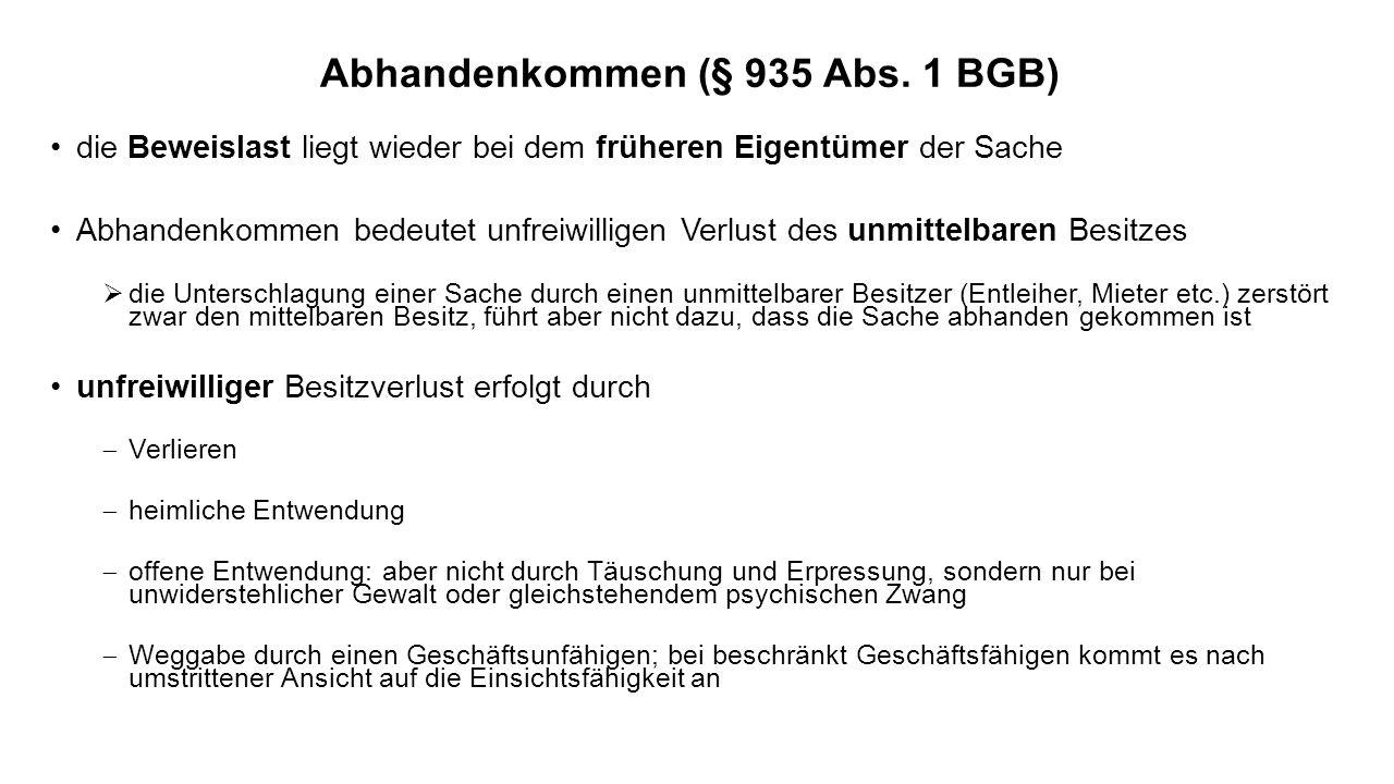 Abhandenkommen (§ 935 Abs. 1 BGB)