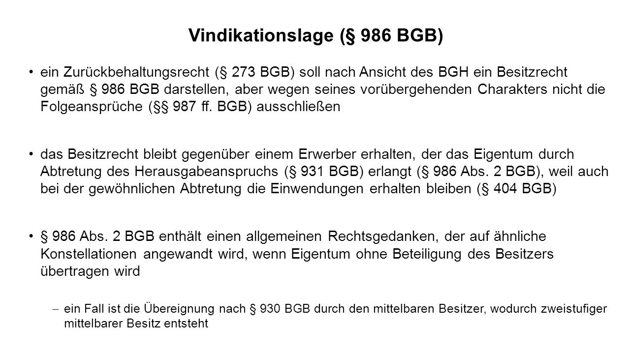 Vindikationslage (§ 986 BGB)