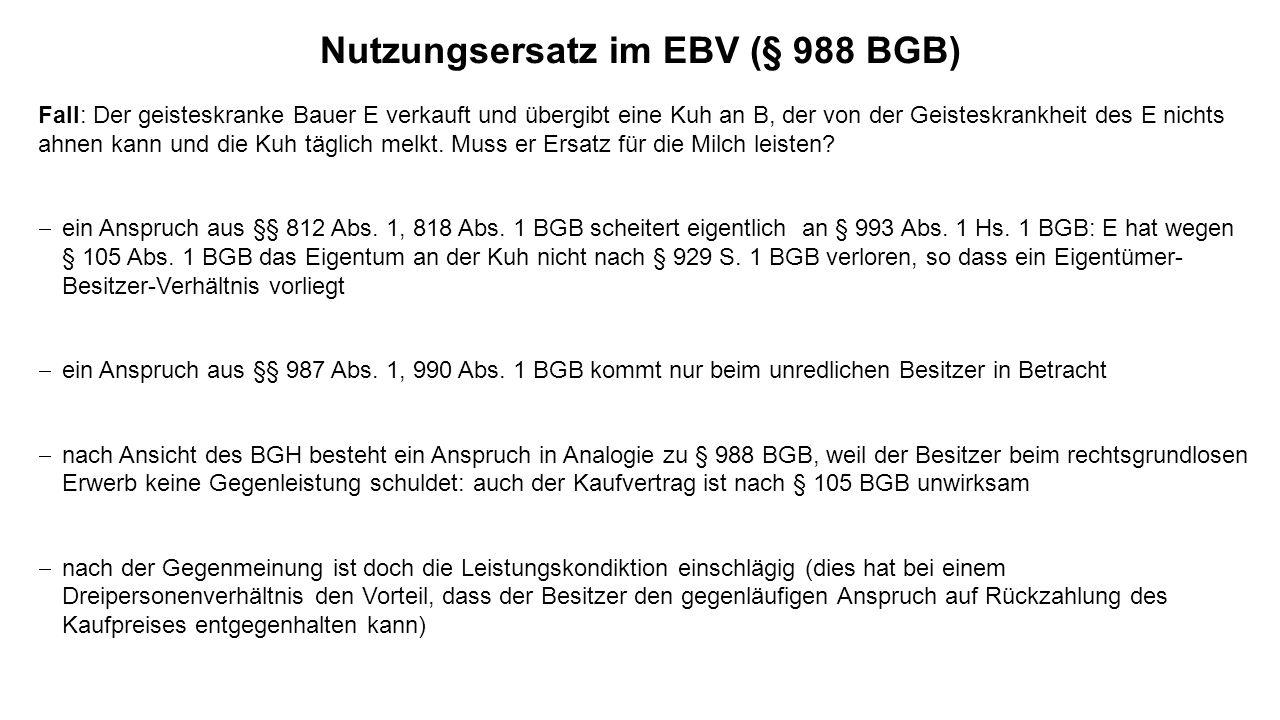 Nutzungsersatz im EBV (§ 988 BGB)