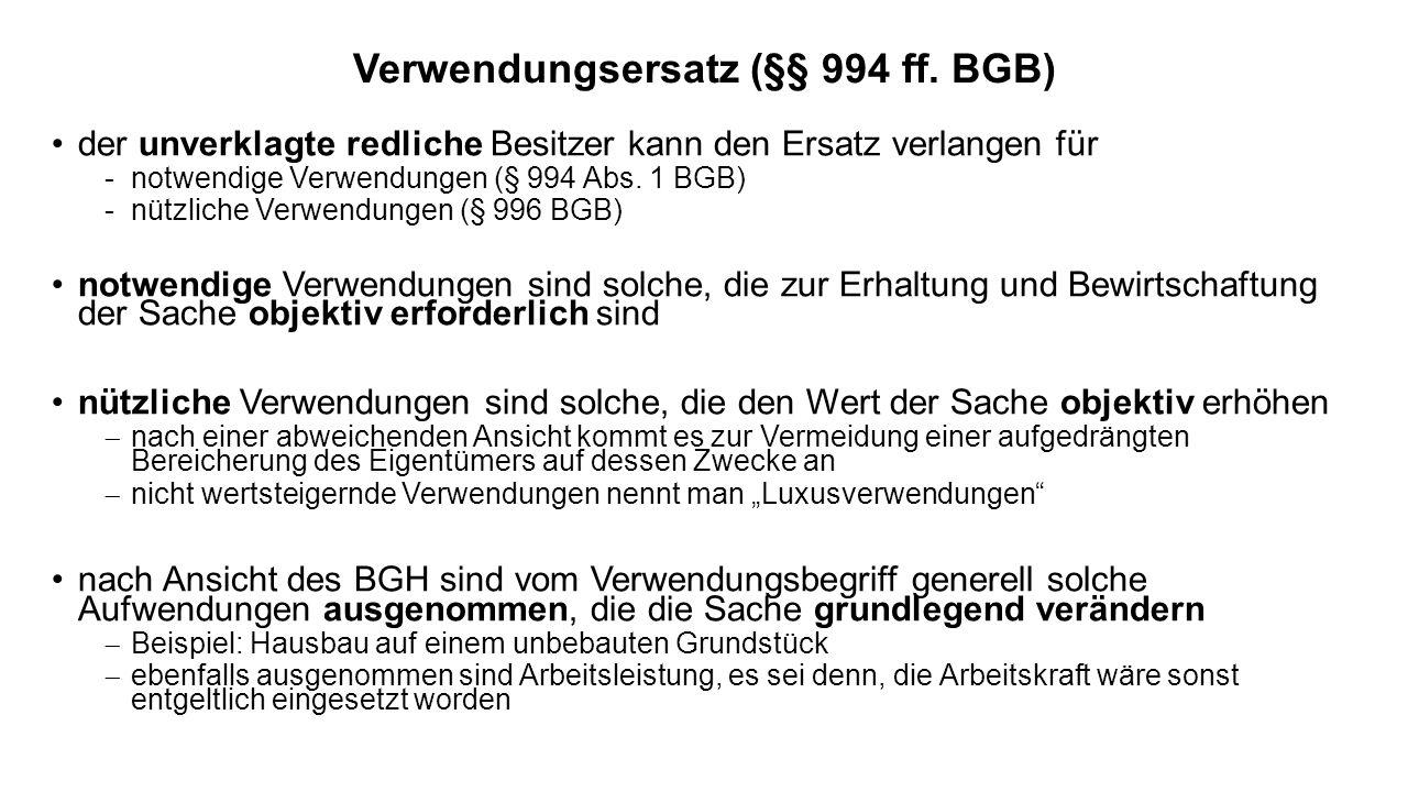 Verwendungsersatz (§§ 994 ff. BGB)