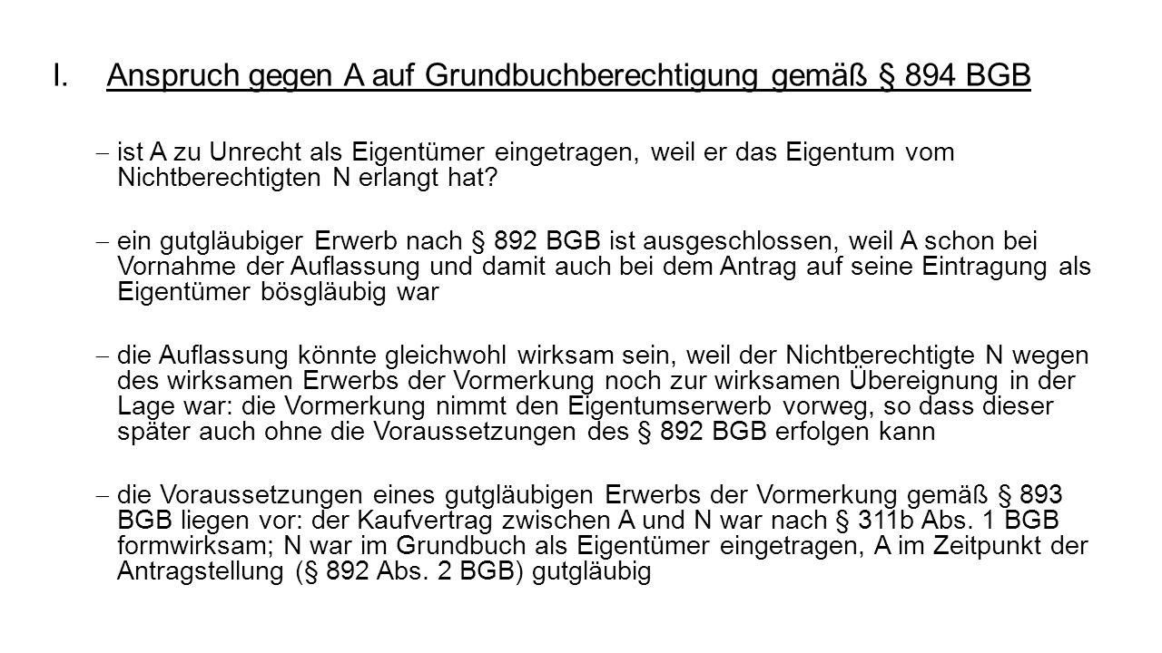 Anspruch gegen A auf Grundbuchberechtigung gemäß § 894 BGB