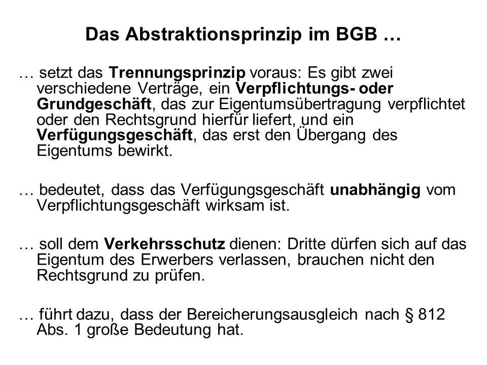 Das Abstraktionsprinzip im BGB …