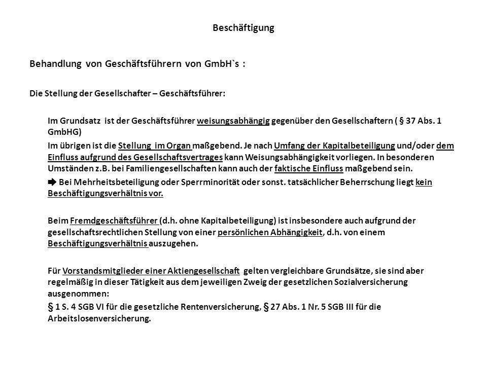 Behandlung von Geschäftsführern von GmbH`s :