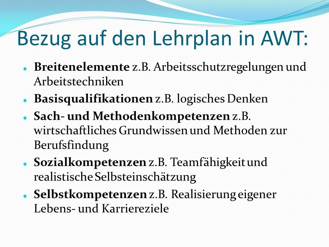 Bezug auf den Lehrplan in AWT: