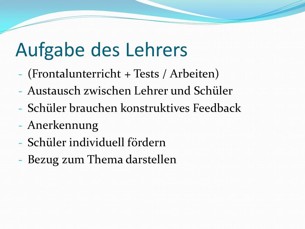 Aufgabe des Lehrers (Frontalunterricht + Tests / Arbeiten)