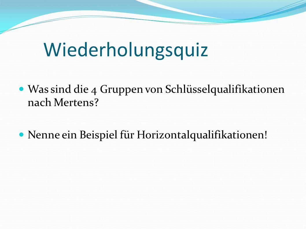 Wiederholungsquiz Was sind die 4 Gruppen von Schlüsselqualifikationen nach Mertens.