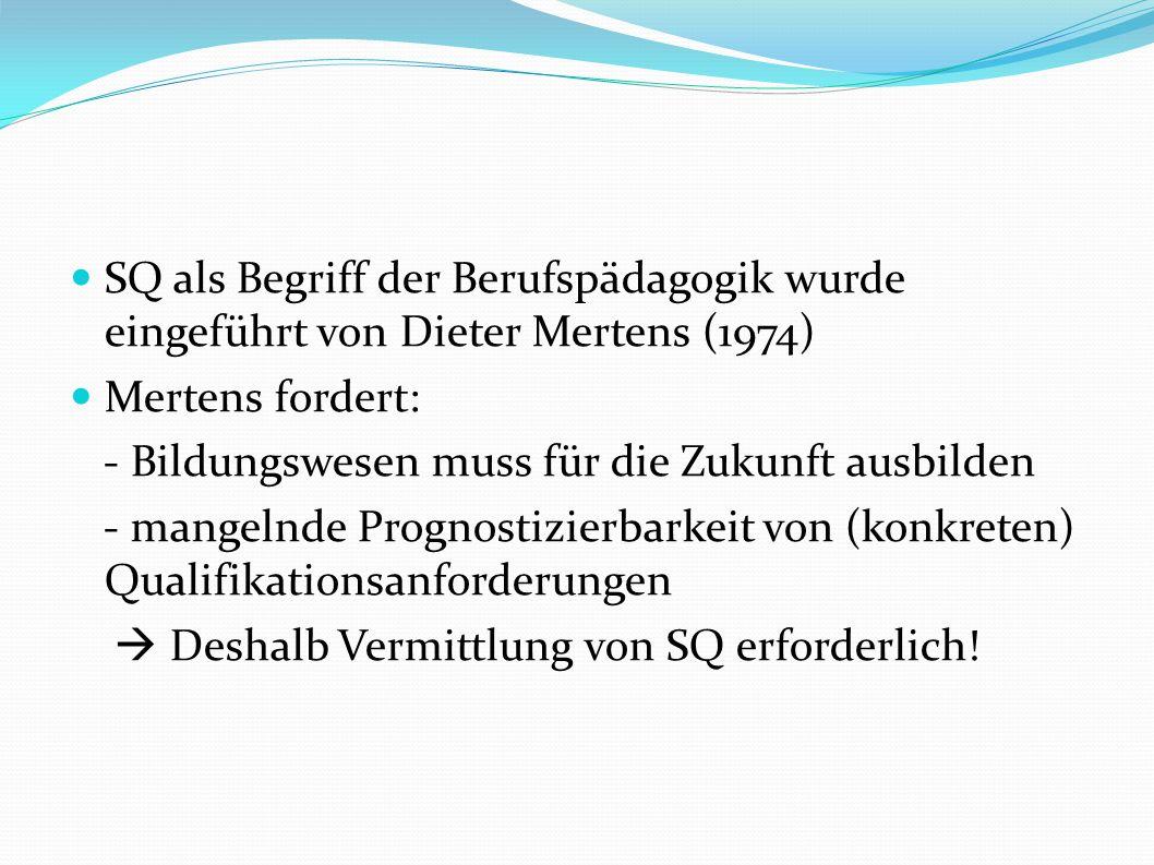 SQ als Begriff der Berufspädagogik wurde eingeführt von Dieter Mertens (1974)