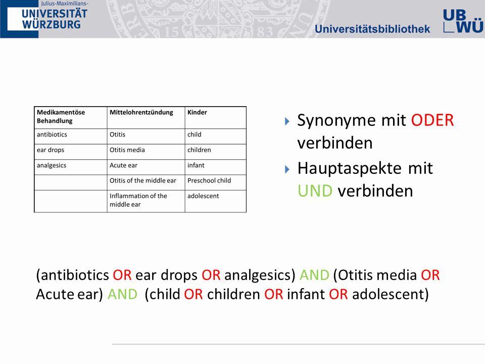 Synonyme mit ODER verbinden Hauptaspekte mit UND verbinden