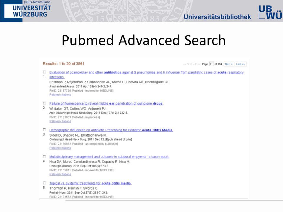 Pubmed Advanced Search