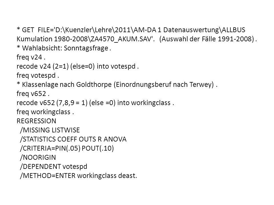 * GET FILE= D:\Kuenzler\Lehre\2011\AM-DA 1 Datenauswertung\ALLBUS Kumulation 1980-2008\ZA4570_AKUM.SAV .