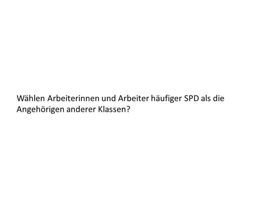 Wählen Arbeiterinnen und Arbeiter häufiger SPD als die Angehörigen anderer Klassen
