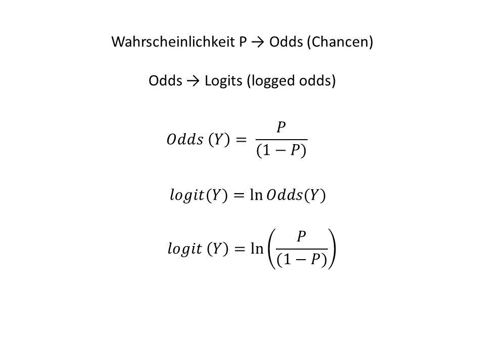 Wahrscheinlichkeit P → Odds (Chancen) Odds → Logits (logged odds)