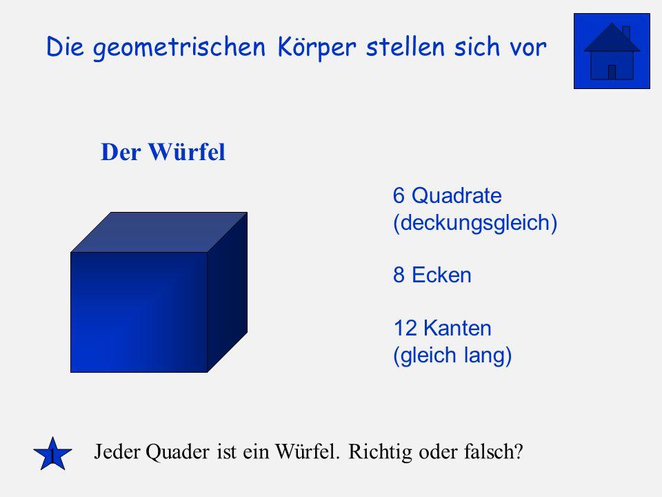 Der Würfel 6 Quadrate (deckungsgleich) 8 Ecken 12 Kanten (gleich lang)