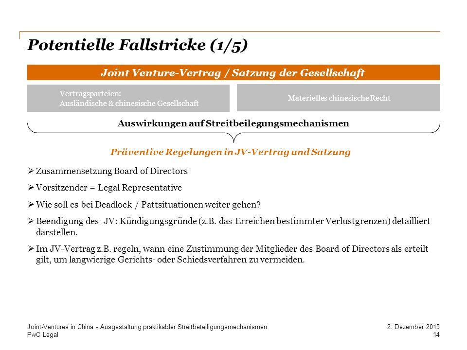 Potentielle Fallstricke (1/5)