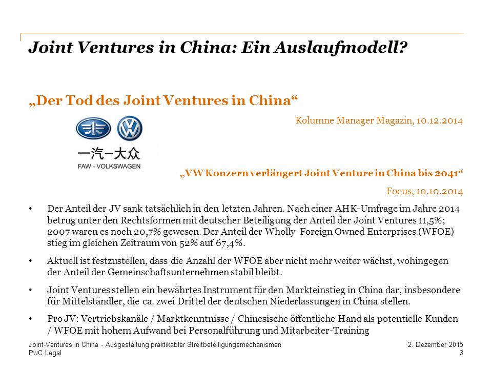 Joint Ventures in China: Ein Auslaufmodell