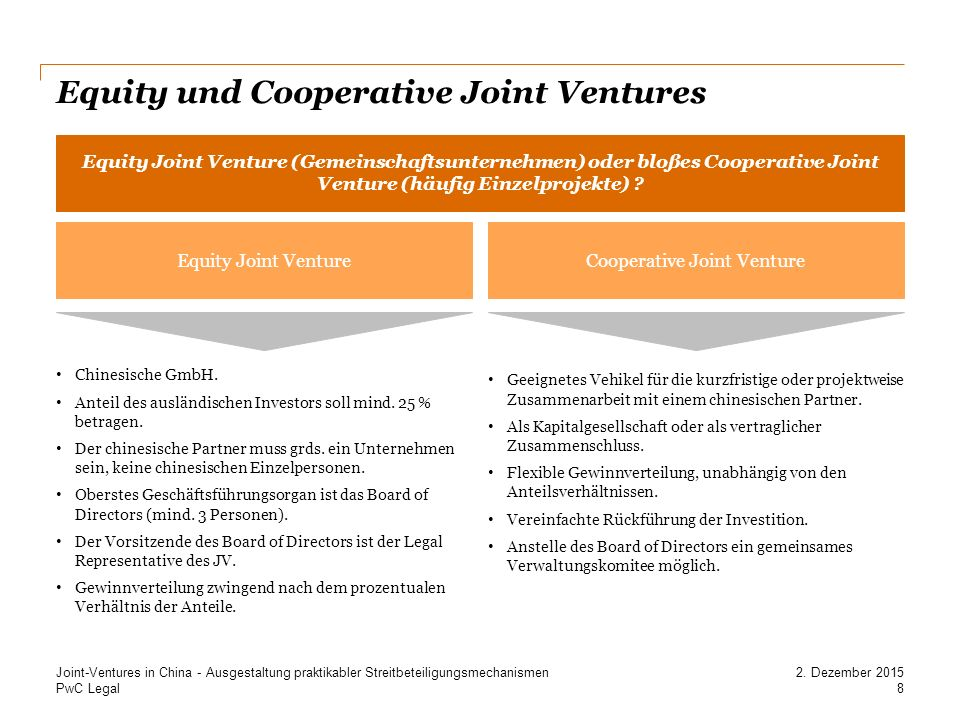 Equity und Cooperative Joint Ventures