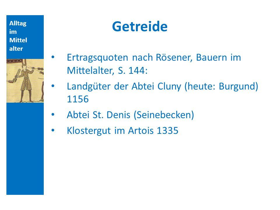Getreide Ertragsquoten nach Rösener, Bauern im Mittelalter, S. 144: