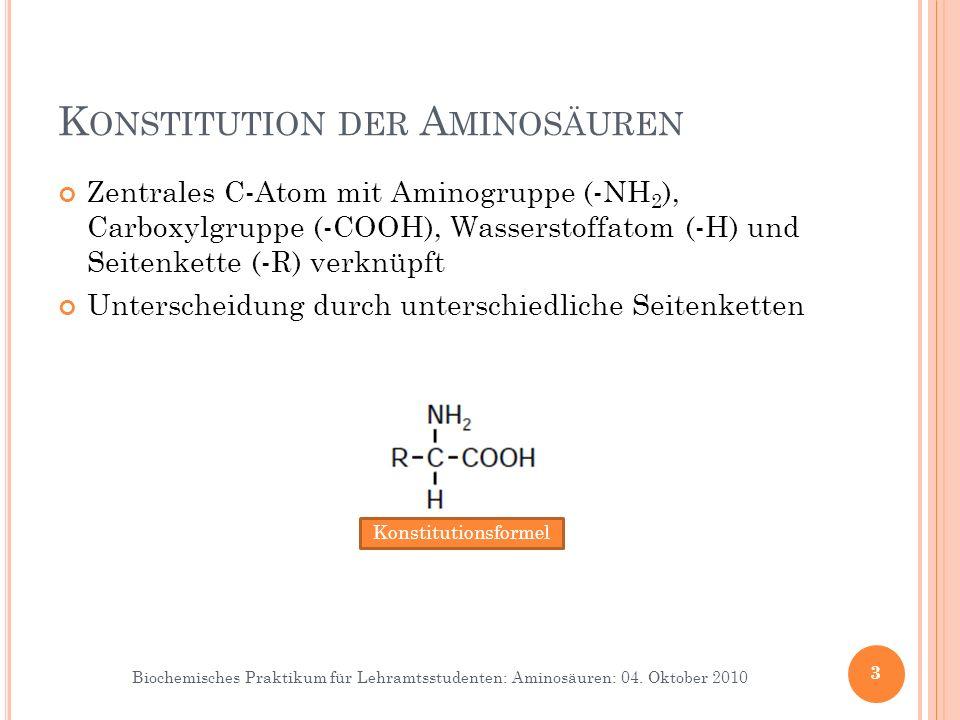 Konstitution der Aminosäuren