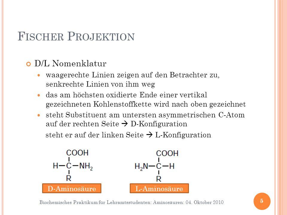 Fischer Projektion D/L Nomenklatur Dexter (rechts) , Laevus (links)