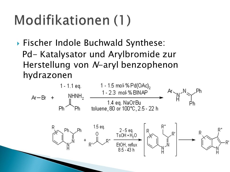 Modifikationen (1) Fischer Indole Buchwald Synthese: