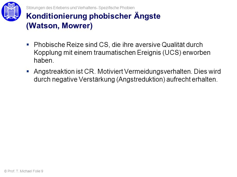 Konditionierung phobischer Ängste (Watson, Mowrer)