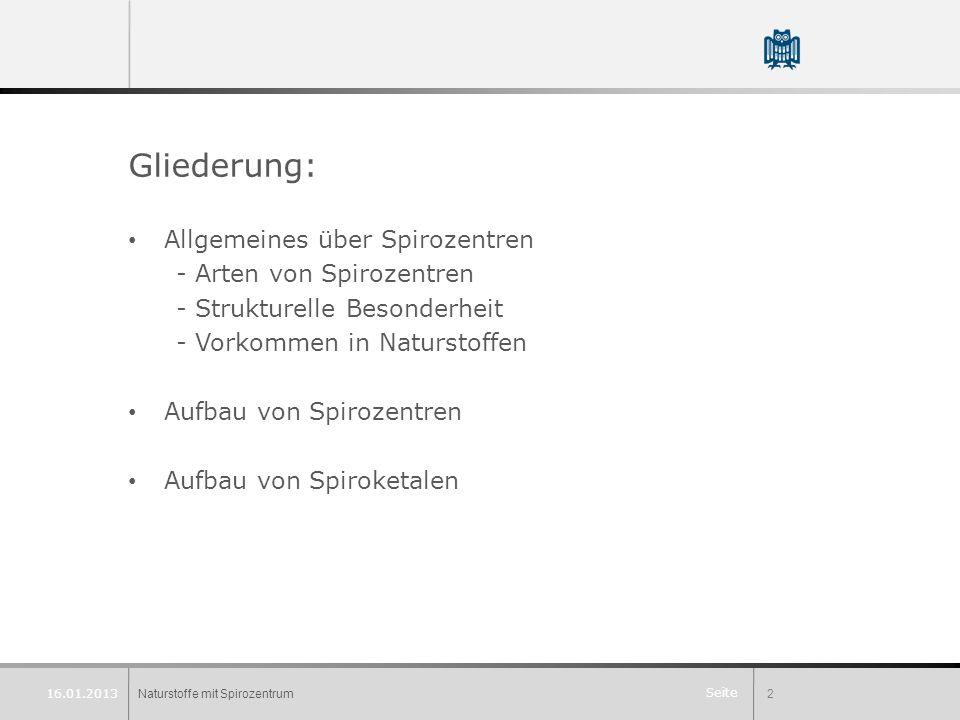 Gliederung: Allgemeines über Spirozentren - Arten von Spirozentren