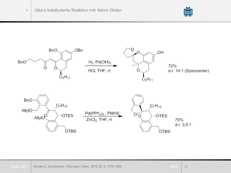 Säure katalysierte Reaktion mit Keton-Diolen