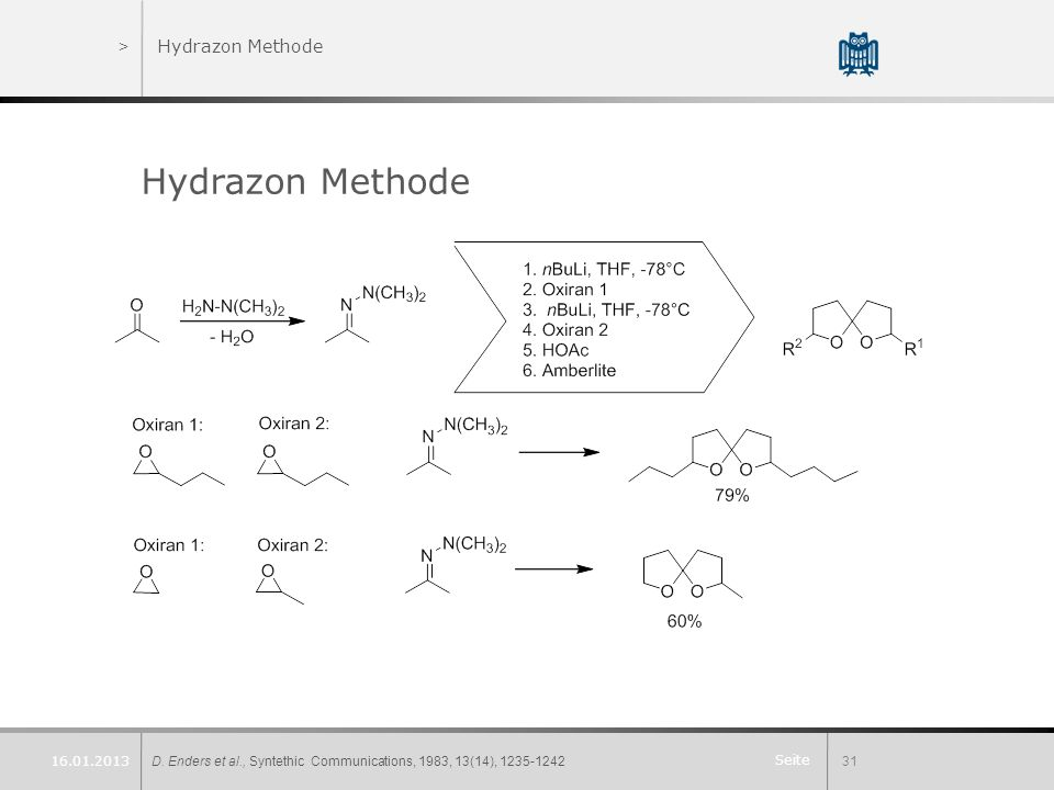 Hydrazon Methode Hydrazon Methode 16.01.2013