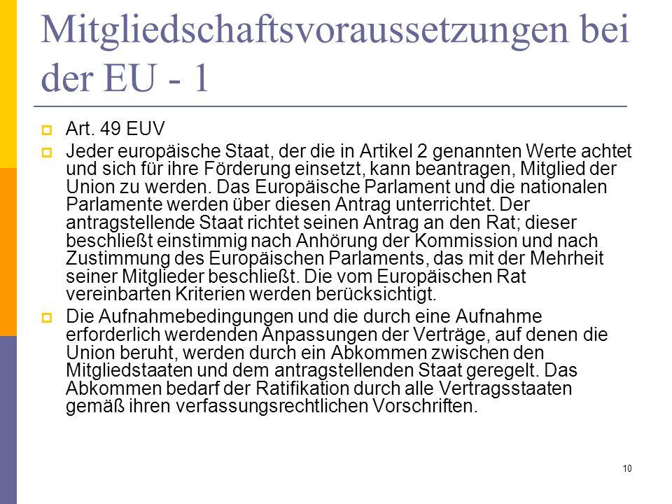 Mitgliedschaftsvoraussetzungen bei der EU - 1