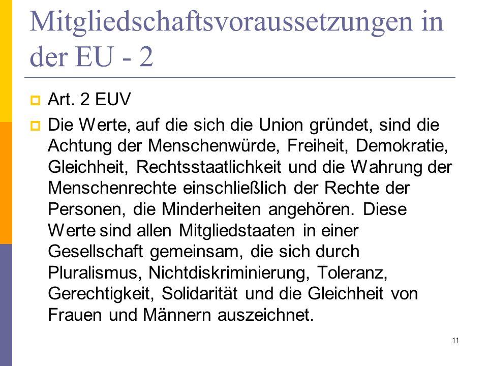 Mitgliedschaftsvoraussetzungen in der EU - 2