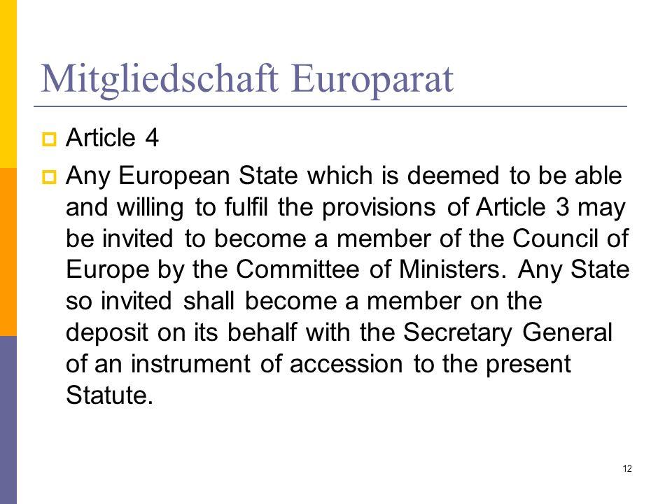 Mitgliedschaft Europarat