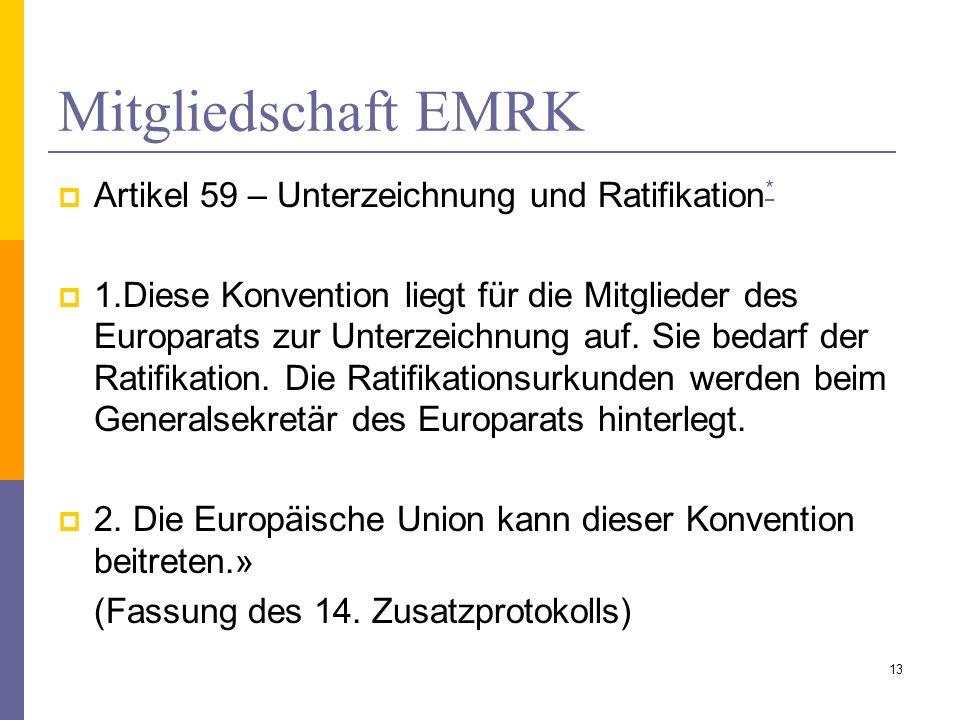 Mitgliedschaft EMRK Artikel 59 – Unterzeichnung und Ratifikation*