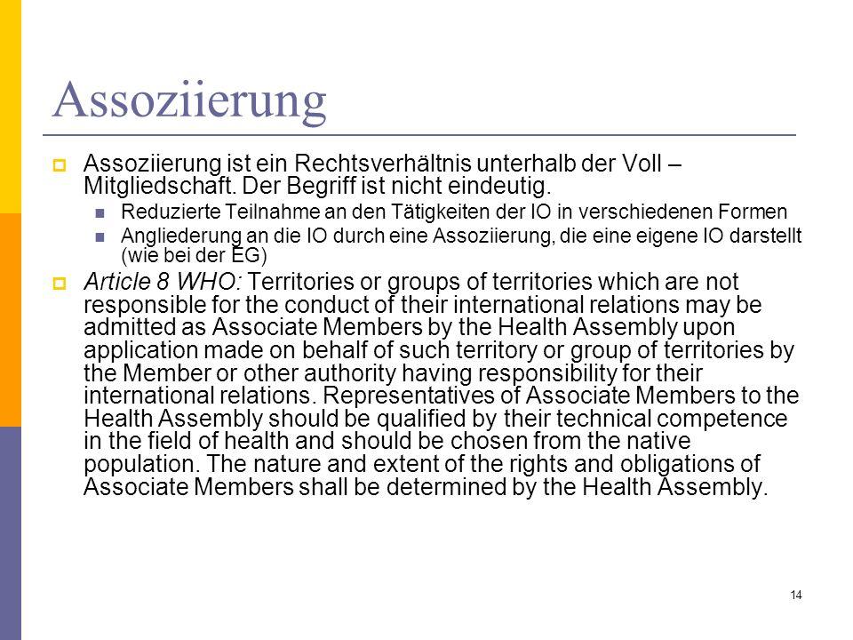 Assoziierung Assoziierung ist ein Rechtsverhältnis unterhalb der Voll – Mitgliedschaft. Der Begriff ist nicht eindeutig.