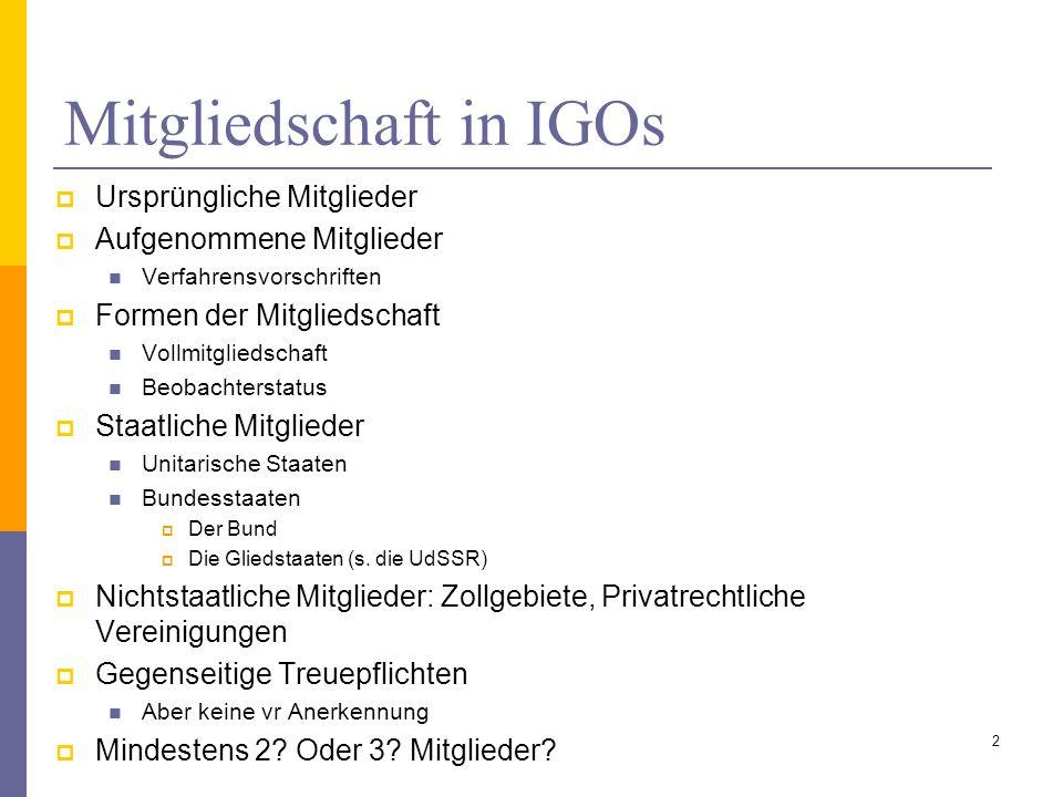 Mitgliedschaft in IGOs