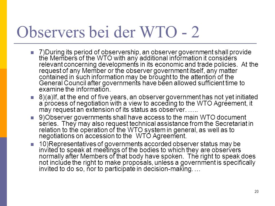 Observers bei der WTO - 2
