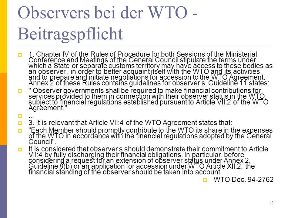 Observers bei der WTO - Beitragspflicht