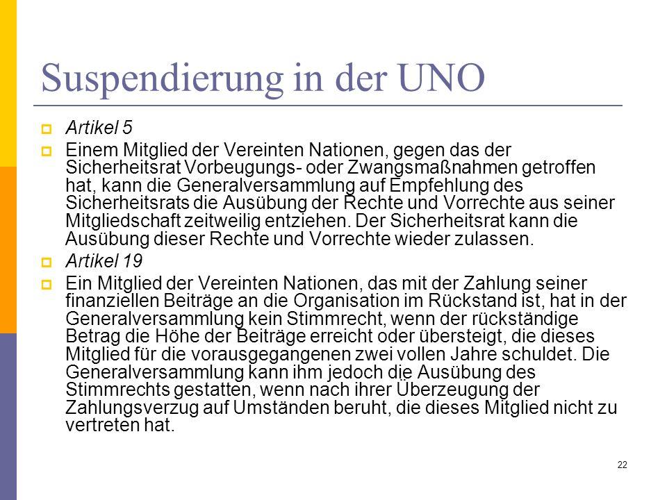 Suspendierung in der UNO