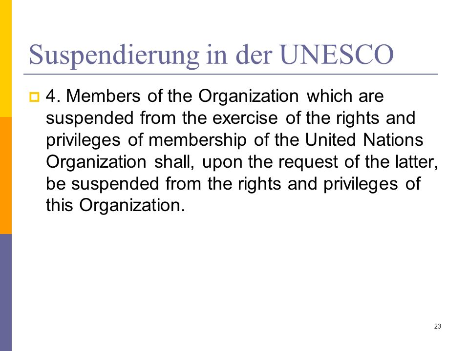 Suspendierung in der UNESCO