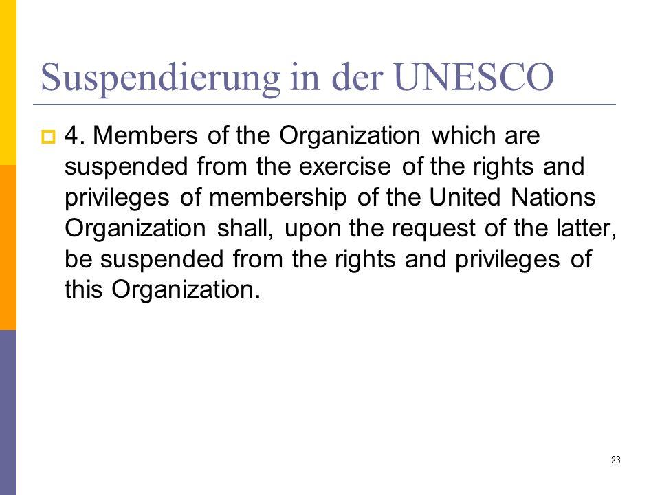 Suspendierung in der UNESCO