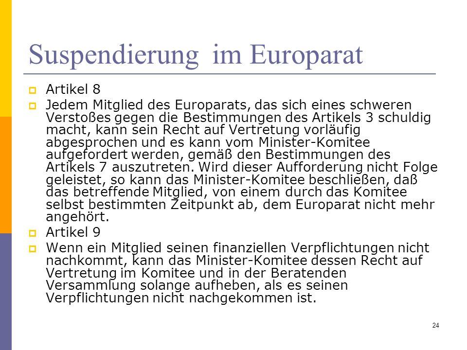 Suspendierung im Europarat