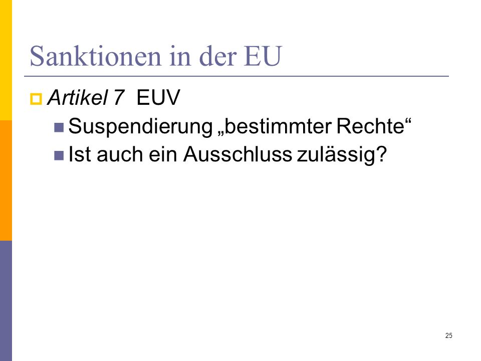 """Sanktionen in der EU Artikel 7 EUV Suspendierung """"bestimmter Rechte"""